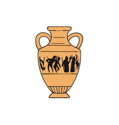 isolated yellow ancient greek pottery vase vector image