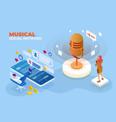 isometric musical social network and digital sound vector image