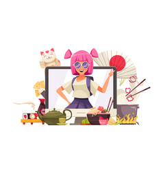 Japan stereotypes doodle composition vector