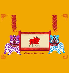 lion dancing and chinese new year with scroll vector image