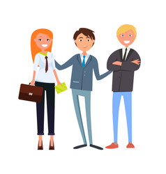 Man boss presenting businesswoman and businessman vector