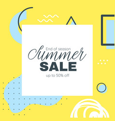 memphis style summer banner template vector image