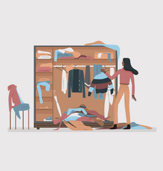 Messy closet dressing home room interior with vector