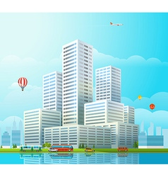 Modern cityscape Office buildings and diffe vector