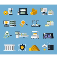 Money Manufacturing Icons Set vector