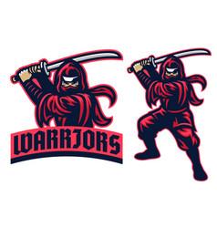 ninja warrior mascot in set vector image