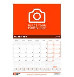 november 2019 wall calendar for 2019 year design vector image