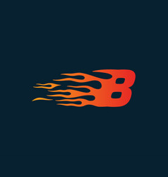 Number 8 fire flame logo speed race design vector
