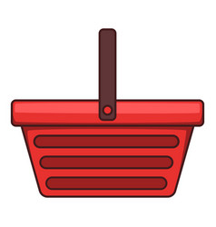 One hand shopping basket icon cartoon style vector
