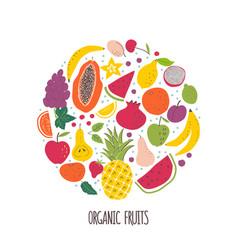 Organic fruits hand drawn color vector