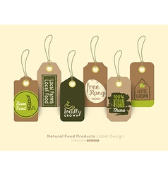 Organic healthy food product tag and label vector