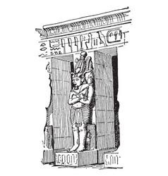 osiris pier medinet habu vintage engraving vector image