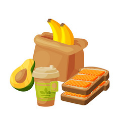 paper bag package with healthy breakfast vector image