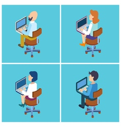People with Laptop Isometric People Businessman vector