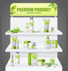 Promotion stand cosmetic products vector