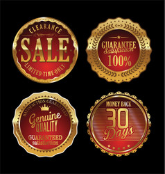 quality retro golden badges collection 4 vector image