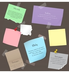 Set of paper banner notes stickers Pieces of torn vector