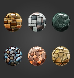 Set of round volume stone buttons vector