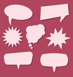 set of speech bubbles on a red background vector image