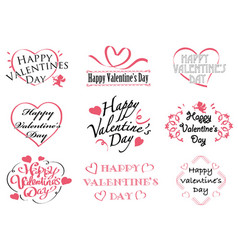 set of valentines day symbols and icons vector image