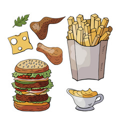 set og hand drawn fast food elements doodle fast vector image