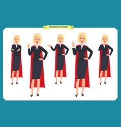 set super businesswoman character vector image