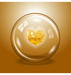 Shining heart in the glass ball vector