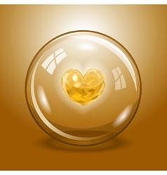 Shining heart in the glass ball vector