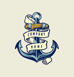ship anchor vintage with ribbon vector image