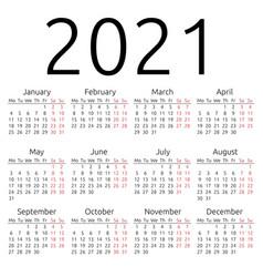 Simple calendar 2021 monday vector