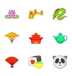 Stay in China icons set cartoon style vector