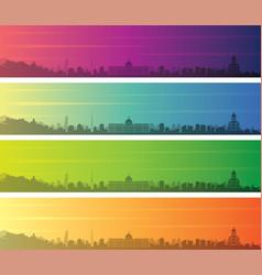 Tbilisi multiple color gradient skyline banner vector