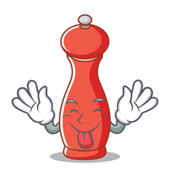 Tongue out pepper mill character cartoon vector