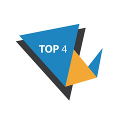 Top4 text in label blue yellow black vector