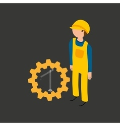 Under construction gear crane icon vector