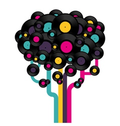 Vinyl record tree vector image