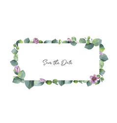 Watercolor banner with green eucalyptus vector