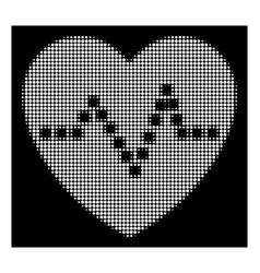 White halftone heart pulse icon vector