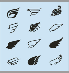 wings icons set 2 vector image