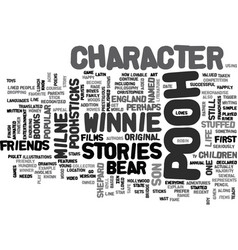 Winnie the pooh character text word cloud concept vector