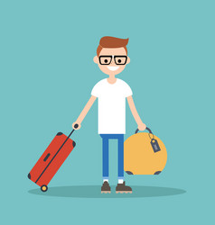 young nerd travelling with his luggage flat vector image