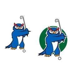 Cartoon owl mascot playing golf vector image vector image