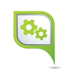 gear icon on green map pointer vector image