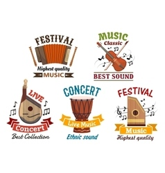 Musical instrumetns icons for festival concert vector image vector image