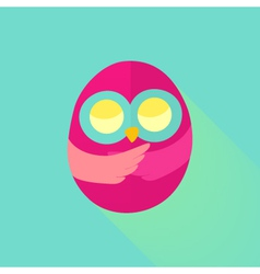 Pink flat owl over mint vector image