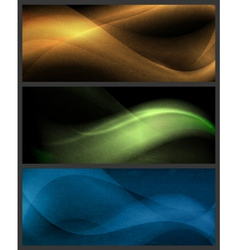 Set of abstract wave patterns on dark background vector image vector image