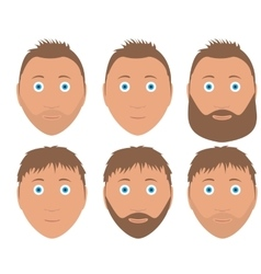 set of man faces with different hairstyle vector image