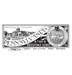 The state banner of pennsylvania the keystone vector
