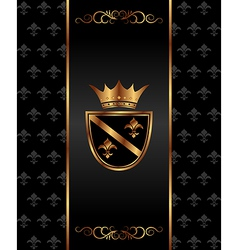 vintage dark golden card with heraldic elements - vector image vector image