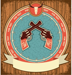 Western symbol background on wood texture vector image
